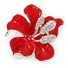 Red Enamel, Clear Crystal Poppy Brooch In Silver Tone Metal - 45mm D