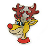 Flashing LED Lights Christmas Reindeer with Magnetic Closure Brooch - 30mm