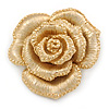 Dimensional Rose Brooch In Brushed Gold Finish - 55mm Across