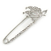 Rhodium Plated Crystal Butterfly Safety Pin - 65mm L