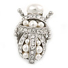 Clear Crystal/ Simulated Pearl Egyptian 'Scarab' Beetle Brooch In Rhodium Plating - 45mm L