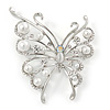 Rhodium Plated Glass Pearl, Clear Crystal Asymmetrical Butterfly Brooch - 60mm Across