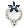 Rhodium Plated Montana Blue CZ Flower, Clear Crystal Fancy Brooch - 55mm Across
