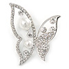 Rhodium Plated Glass Pearl, Clear Crystal Asymmetrical Butterfly Brooch - 50mm Across