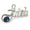Rhodium Plated Clear Crystal, Blue CZ 'Faith' Brooch - 48mm Across