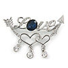 Clear Crystal, Blue CZ 'Love' Brooch In Rhodium Plated Metal - 50mm Across