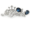 Rhodium Plated Clear Crystal, Montana Blue CZ 'Angel' Brooch - 55mm Across
