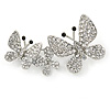 Rhodium Plated Clear Austrian Crystal Butterfly Brooch - 45mm Across