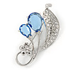 Rhodium Plated Light Blue CZ, Clear Crystal Floral Brooch - 50mm Across