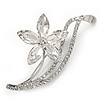 Clear CZ, Crystal Flower Brooch In Rhodium Plated Metal - 55mm Across