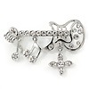 Rhodium Plated Clear Crystal Guitar with Musical Charms Brooch - 45mm Across