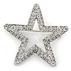 Silver Plated Clear Austrian Crystal Open Layered Star Brooch - 40mm Across