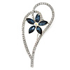 Open Asymmetrical Heart with Blue CZ Flower Brooch In Rhodium Plating - 65mm Across
