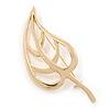 Gold Tone Metal Open Leaf Brooch - 60mm Across
