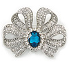 Large Clear Crystal, Teal CZ 'Bow' Brooch In Rhodium Plating - 70mm Across