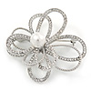 Statement Dimensional, Asymmetrical Crystal Flower Brooch In Rhodium Plating - 50mm Across