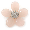 Pale Pink Quartz Stone Daisy Brooch - 60mm Across