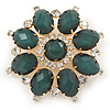 Dark Green Acrylic, Clear Crystal Flower Corsage Brooch In Gold Tone - 60mm Across