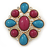 Plum/ Turquoise Acrylic Stone, Clear Crystal Corsage Brooch In Gold Plating - 55mm Across