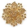 Victorian Style Corsage Flower Brooch In Gold Tone & Champagne Coloured Crystals - 55mm Across