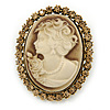 Vintage Inspired Champagne Crystal Cameo In Antique Gold Metal - 48mm L