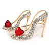 Gold Tone Clear/ Red Crystal High Heel Shoe Brooch - 40mm
