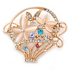 Gold Plated Basket with Crystal Flowers Brooch - 50mm L