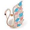 Gold Plated Multicoloured Cat Eye Stone, Clear Crystal Swan Brooch - 45mm L