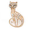 Crystal, Cat Eye Stone Kitty Brooch In Gold Tone Metal - 60mm L