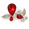Clear Crystal, Ruby Red Glass Stone Double Butterfly Brooch In Gold Plating - 50mm Across