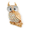 Gold Plated, White Enamel, Clear/ AB Crystal Owl Brooch - 45mm L