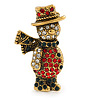 Vintage Inspired Christmas Crystal 'Snowman' Brooch In Antique Gold Tone Metal - 38mm L