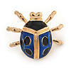 Black/ Dark Blue Enamel Lady Bug Brooch In Gold Plated Metal - 30mm L