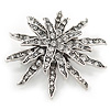 Vintage Inspired Austrian Crystal Star Brooch In Antique Silver Tone - 50mm D