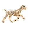 AB Crystal Bulldog Dog Brooch In Gold Plating - 40mm