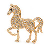 Small Clear Crystal Horse Brooch In Gold Tone Metal - 38mm