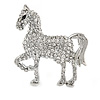 Small Clear Crystal Horse Brooch In Silver Tone Metal - 40mm