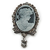 Vintage Inspired Grey/ Hematite Crystal Cameo with Charm Brooch In Antique Silver Tone - 63mm Across