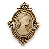 Vintage Inspired Champagne Crystal Cameo Brooch In Antique Gold Metal - 65mm