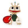 Funky Green/ Red/ Clear Crystal Frog Brooch In Gold Plating - 43mm L