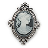 Vintage Inspired Clear Crystal Cameo Brooch In Antique Silver Metal - 65mm
