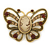 Vintage Inspired Tan Coloured Cameo Butterfly Brooch In Antique Gold Tone - 65mm W