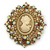 Oversized Crystal Tan Coloured Cameo Brooch/ Pendant In Gold Tone - 85mm L