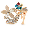 Gold Plated Crystal Shoe with Flowers Brooch - 45mm