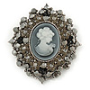 Oversized Crystal Grey Cameo Brooch/ Pendant In Silver Tone - 85mm L