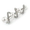 White Glass Pearl, Clear Crystal Spiral Fancy Brooch In Silver Tone - 60mm L