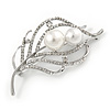 Silver Plated Clear Crystal Pearl Leaf Brooch - 75mm L