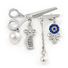 Silver Plated, Crystal, Pearl Hairdresser Charm Brooch - 45mm W