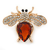 Clear Crystal, Topaz Glass Stone Bee Brooch In Gold Plated Metal - 40mm L