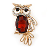 Gold Plated Clear/ Amber Crystal Owl Brooch - 43mm L